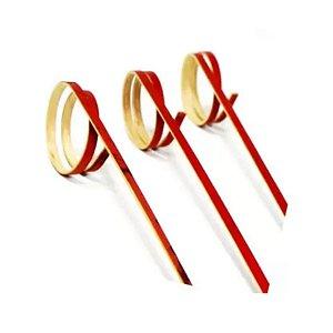 Palito em Bambu p/ petiscos Vermelho - 20 un - 12 cm - Silver Festas