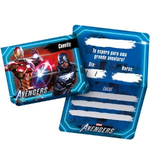 Convite de Aniversário Festa Avengers Game Verse - 12 unidades - Regina - Rizzo
