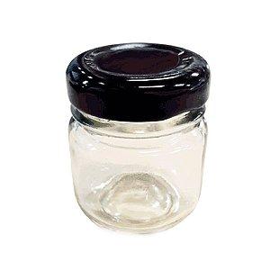 Potinho de Vidro Redondo Tampa de Metal Preta 30ml - Rizzo