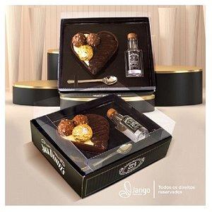 Caixa Coração 200g + Mini Whisky - 1un - Rizzo Confeitaria