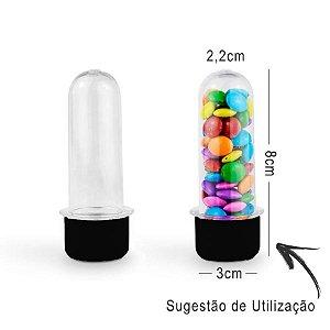 Mini Tubete Lembrancinha 8cm 10 unidades - Preto - Rizzo