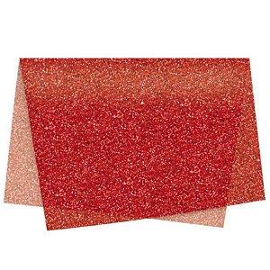 Papel de Seda - 49x69cm - Glitter Vermelho - 10 folhas - Rizzo
