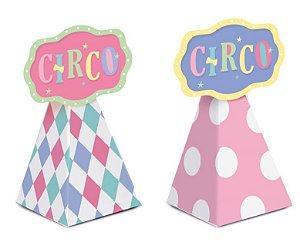 Caixa Cone para Lembrancinha Festa Circo Rosa - 08 unidades - Cromus - Rizzo