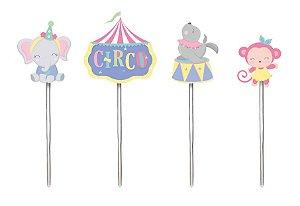 Pick Decorativo Festa Circo Rosa - 12 unidades - Cromus - Rizzo