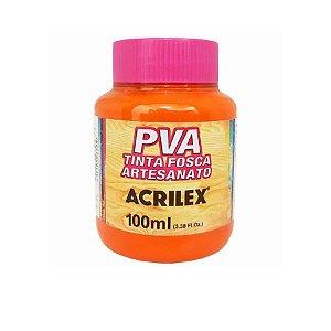Tinta Fosca Artesanato PVA 100ml - Laranja R517 - 1 unidade - Acrilex - Rizzo