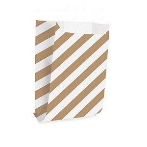 Saquinho de Papel - Listras Branco com Pardo - 50 unidades - Cromus - Rizzo