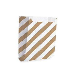 Saquinho de Papel 10,5x10cm - Listras Branco com Pardo - 50 unidades - Cromus - Rizzo