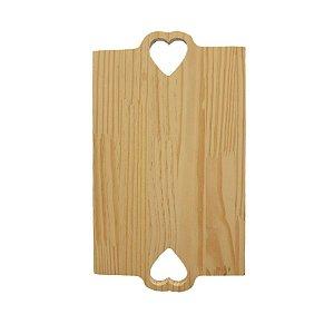 Tabua Retangular Coração de Madeira 35X20X1,5 cm 1un. Rizzo