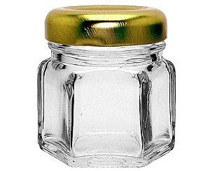 Pote de Vidro Sextavado com Tampa de Metal Dourada - 35ml - 5x4,5cm - 01 unidade - Rizzo