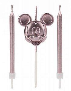 Vela Mickey Rosto Rose Gold Disney Silver Festas Rizzo