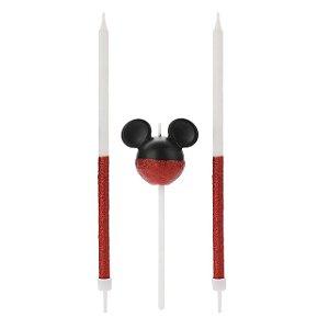 Vela Mickey 360 Glitter Vermelho Disney Silver Festas Rizzo