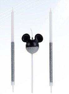 Vela Mickey 360 Glitter Prata Disney Silver Festas Rizzo