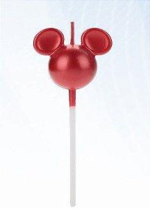 Vela Mickey 360 Vermelha Disney Silver Festas Rizzo