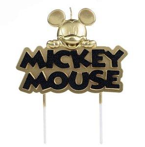 Vela Mickey Metalizada Dourada Disney Silver Festas Rizzo