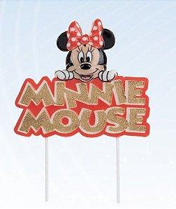 Vela Minnie Colorido Glitter Dourado Disney Silver Festas Rizzo
