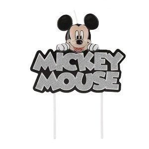 Vela Mickey Colorido Glitter Prata Disney Silver Festas Rizzo