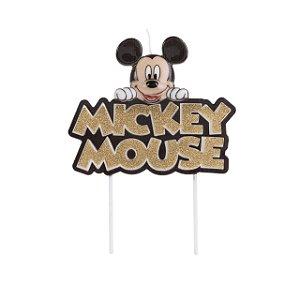 Vela Mickey Colorido Glitter Dourado Disney Silver Festas Rizzo