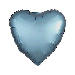 """Balão Metalizado 20"""" 50cm - Coração Cromado Azul Steel - 01 Unidade - Flexmetal - Rizzo"""