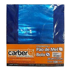 Papel para Bolo Gelado 20x22cm - Azul - 100 folhas - Carber