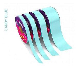 Rolo Fita Lisa Candy Azul - 15mm x 50m - EmFesta