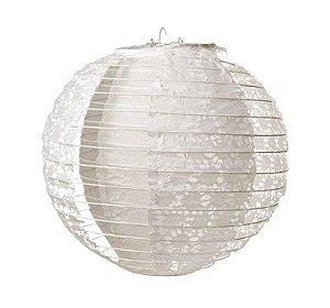 Lanterna de Papel Rendado Branco 30cm - 01 unidade - Cromus - Rizzo