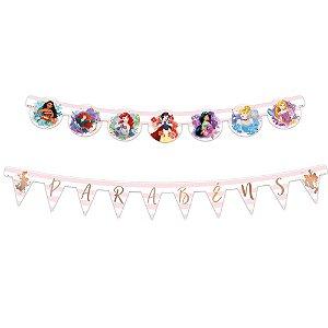 Faixa Parabéns - Festa Princesas da Disney - 01unidade - Regina - Rizzo