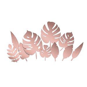 Folhagens Metalizadas Sortidas Rose Gold - Festa OH Baby Girl - 10 unidades - Cromus - Rizzo