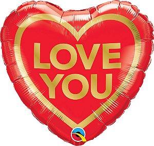 """Balão de Festa Microfoil Coração- Love You Dourado - 18"""" 46cm - 01 Unidade - Rizzo"""