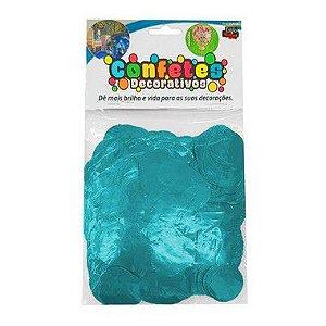Confete Redondo Metalizado 25g - Azul Celeste Dupla Face - Rizzo