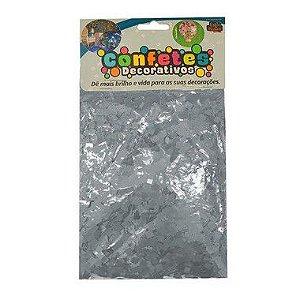 Confete Mini Picadinho Metalizado 25g - Prata Dupla Face - Rizzo