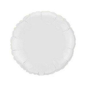 """Balão de Festa Metalizado 20"""" 50cm - Redondo Branco - 01 Unidade - Flexmetal - Rizzo"""