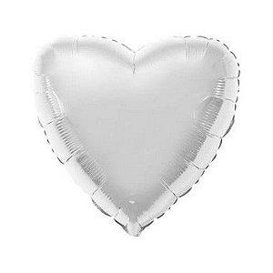 """Balão de Festa Metalizado 20"""" 50cm - Coração Prata - 01 Unidade - Flexmetal - Rizzo"""