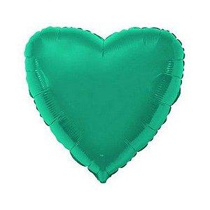 """Balão de Festa Metalizado 20"""" 50cm - Coração Verde - 01 Unidade - Flexmetal - Rizzo"""