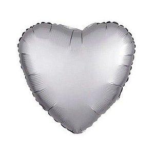 """Balão de Festa Metalizado 20"""" 50cm - Coração Cromado Platinum - 01 Unidade - Flexmetal - Rizzo"""