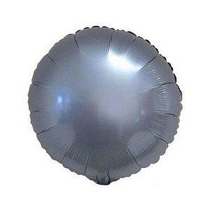 """Balão de Festa Metalizado 20"""" 50cm - Redondo Azul Steel - 01 Unidade - Flexmetal - Rizzo"""