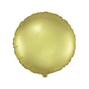 """Balão de Festa Metalizado 20"""" 50cm - Redondo Ouro Pastel - 01 Unidade - Flexmetal - Rizzo"""