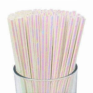 Canudo de Papel Nacarado Branco - 20 unidades - ArtLille - Rizzo