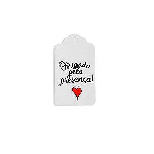 Tag Decorativa Branco com Furo - Obrigado pela Presença - 10 unidades - Rizzo