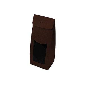 Caixa Sacolinha com Visor G (12cm x 23m x 6cm) Marrom 10 unidades Assk Rizzo Confeitaria