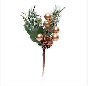 Galho Curto Folhas Frutas Douradas e Pinha 20cm - 01 unidade - Cromus Natal - Rizzo