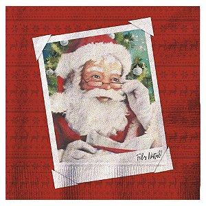 Guardanapo de Papel Papai Noel Feliz Natal 33cm - 20 folhas - Cromus Natal - Rizzo Confeitaria