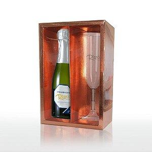 Caixa Mini Champanhe e Taça (20,5cm x 13cm x 6cm) Rose 5 unidades - Assk - Rizzo