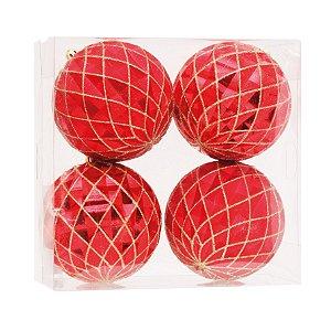 Kit Bolas Texturizadas Vermelha e Dourada - 10cm - 04 unidades - Cromus Natal - Rizzo Confeitaria