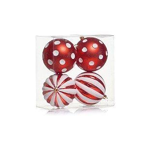Kit Bolas Texturizadas Vermelha e Branca - 10cm - 04 unidades - Cromus Natal - Rizzo Confeitaria