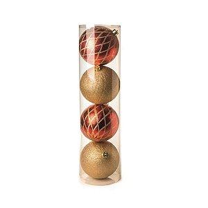 Kit Bola Losango Brilhante Vermelho e Ouro 15cm - 04 unidades - Cromus Natal - Rizzo Confeitaria
