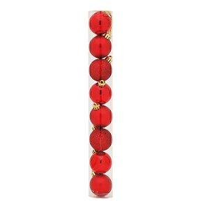Bolas em Tubo Vermelho 4cm - 08 unidades - Cromus Natal - Rizzo Confeitaria