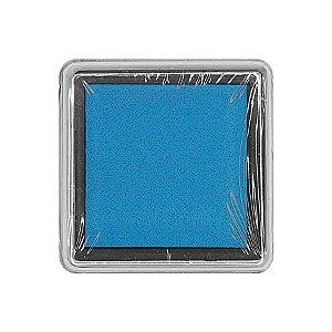 Almofada para Carimbo em Plástico e Espuma - Carimbeira Azul 2,5x2,5cm - 01 Unidade - Rizzo
