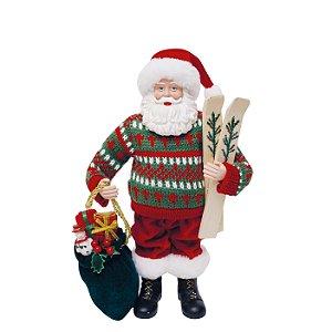 Noel Decorativo com Esqui 28cm - 01 unidade - Cromus Natal - Rizzo Confeitaria