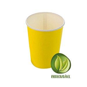 Copo Papel Liso Biodegradável 270 ml  - 10 un - Amarelo - Silver Festas - Rizzo Confeitaria