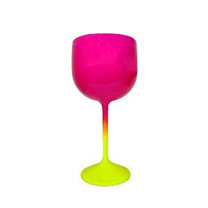 Taça Gin Fluor com 550ml Degradê Amarelo e Pink - Rizzo
